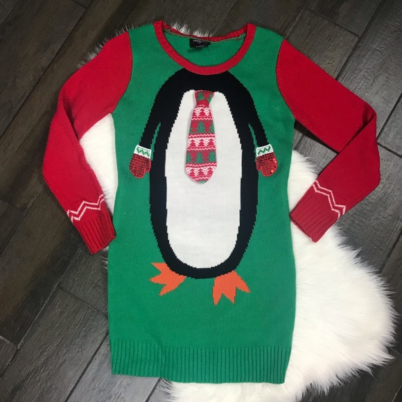 Hooked Up penguin w tie ugly Christmas sweater
